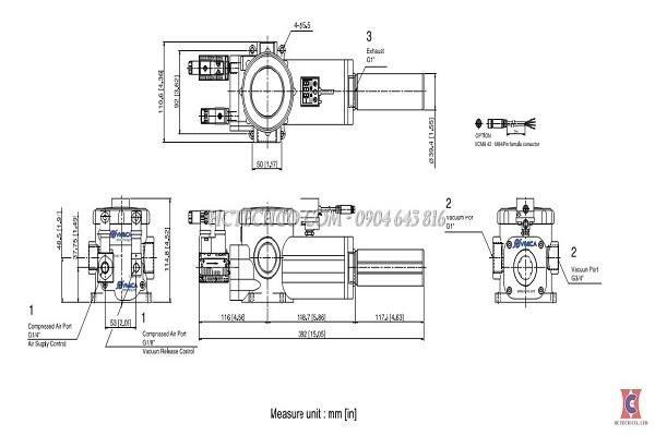 Bản vẽ kỹ thuật của bơm chân không khí nén VMECA VTCL 3032