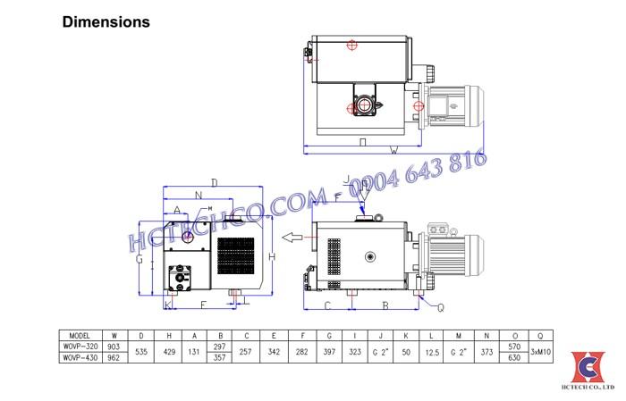 Kích thước tiêu chuẩn bơm wonchang 320