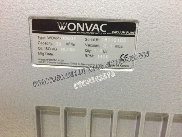 Tem thông số kỹ thuật của bơm chân không WonChang WOVP 0060F