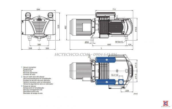 Cấu tạo bơm hút chân không khô Becker VTLF 2.500