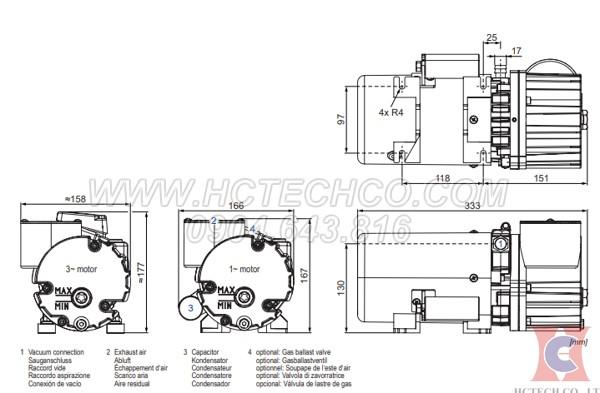 Cấu tạo máy bơm chân không Becker model O5.8