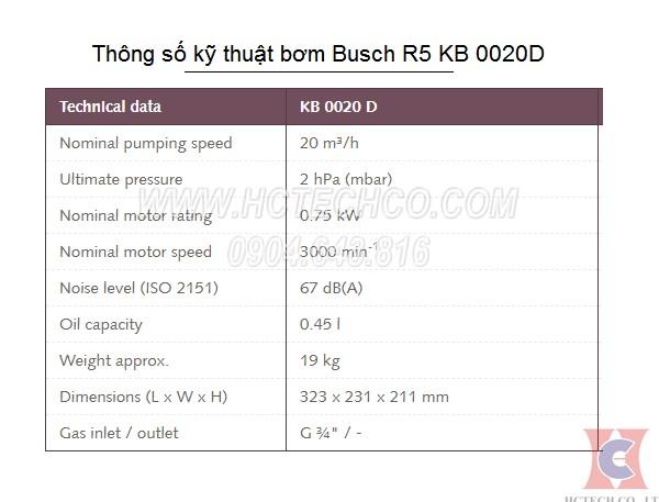thong so ky thuat cua bom chan khong busch kb 0020d